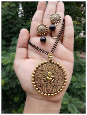 Foxy Trend Gold Alloy Festive Wear Oxidised Necklace
