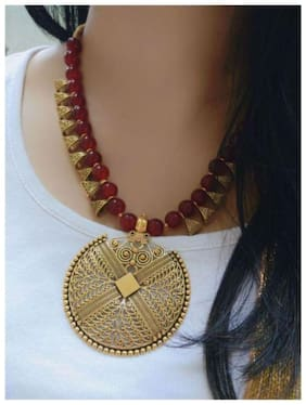 Foxy Trend Brass Maroon Contemporary Contemporary/Fashion Antique Necklace