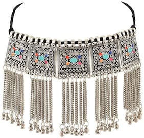 Foxy Trend Oxidised Silver-Plated Floral Stone-Studded Afghani Necklace for Women