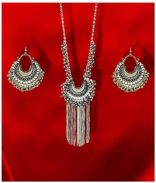 Foxy Trend Silver Oxidised Drop Classy Luxury Afghan Tribal Afghani Necklace & Earrings Set