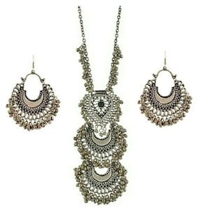 Foxy Trend Silver Oxidised High Class Luxury Afghan Tribal Afghani Necklace And Earrings set
