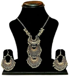 FoxyTrend Silver Oxidised Classy Three Way Hot Selling Afghan Tribal Afghani Necklace & Earrings Set