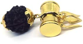 Gemarry Gems Shiv Shakti Kavach Rudraksha Damru Locket Pendant with 5 Mukhi RUDRAKSH Bead