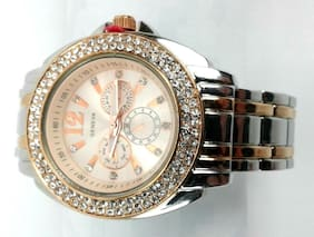 Geneva Womens Bangle Watch Rose Gold and Silver Color Rhinestones Around Face