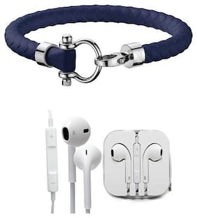 GENSET BLUE LEATHER BRACELET WITH FREE 3.5 MM EARPHONE WITH MIC AND VOLUME CONTROL