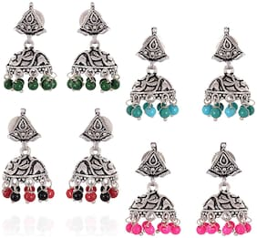 Geode Delight Oxidised Silver Plated Tops Jhumki Combo of 4 Pair of Earrings For Girls & Women