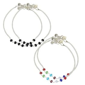 Geode Delight Multi-Color Pearl Anklet Set of Two For Girls & Women