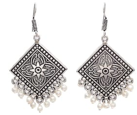 Geode Delight Oxidized Silver Plated Jhumki Earring For Women And Girls