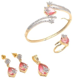 Geode Delight Pink Gold Plated American Diamond Combo Set of Pendant with Earring, Ring And Bracelet