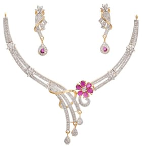 Geode Delight American Diamond Cz Necklace Set