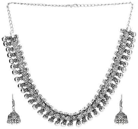 german silver boho tribal look ghungroo choker style necklace set