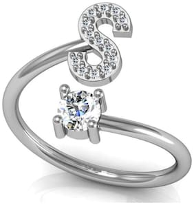 Glamorous A to Z Letter Sterling Silver Zircon Rings for Women