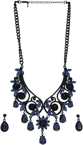 Globus Navy Black Stone Necklace and Earrings