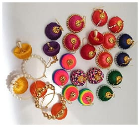 GO-FOR-IT Multicolour Silk Thread Earrings for Women and Girls Set of 12 Pairs