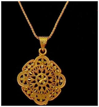 Buy Gold Plated Pendant Set Simple Look Handmade Necklace Jewelry