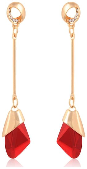 Gold Plated Stylish Red Crystal Drop Long Earrings