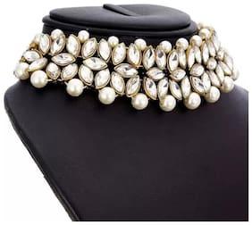 Gold Plated kundan Style Necklace Set With Mangtikka For Women