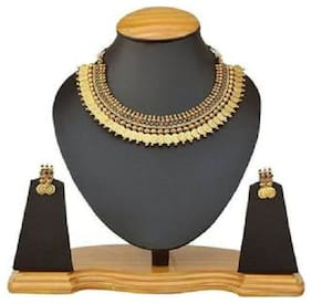 Golden Alloy Traditional Gold Plated Necklace Set with Earrings For Women (Gold) 1Pc