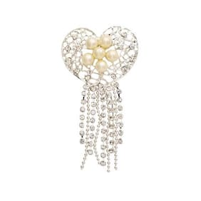 Golden Peacock Silver Plated Heart Shaped Brooch
