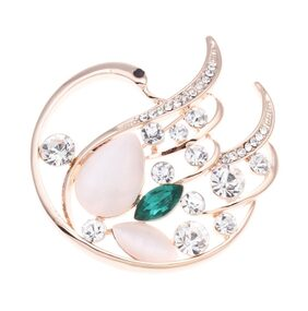 Golden Peacock Cat Eye Stone Green Swan Shaped Brooch