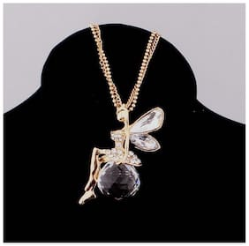 Popmode Floral Divine Angel Wings White Crystal Pendant Gold Plated Girls Statement Necklace
