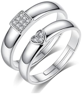 Gorgeous Sterling Silver Titanium Swarovski Elements Love Couple Rings