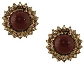 Grand Jewels Maroon Alloy Earrings