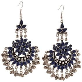 Grand Jewels German Multi Long Oxidized Afgani Earrings for Women and Girls