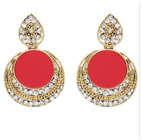 Grand Jewels Red Golden Alloy Style Diva Huggies Earrings