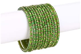 Green Glass Bangle Set Of Twelve Decorative With Colorful Stone & Beads (with Safety Cum Gift Box)