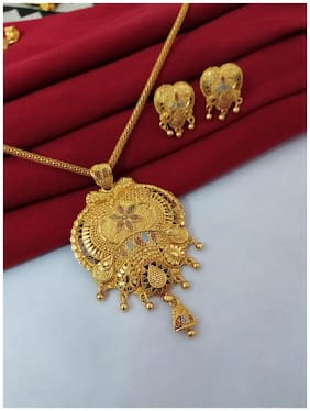 Halltree Gold Plated Fashionable Pendent Set with chain and Earrings