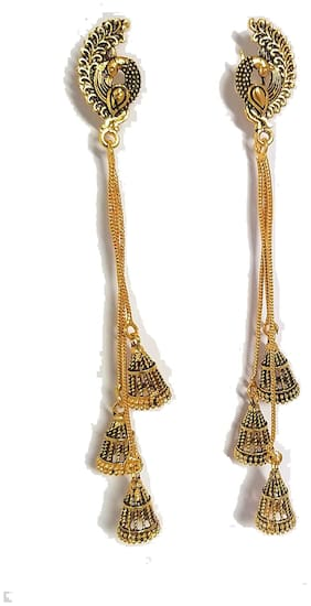 Happy Stoning Gold Plated Antique look Long Peacock three strands Earrings