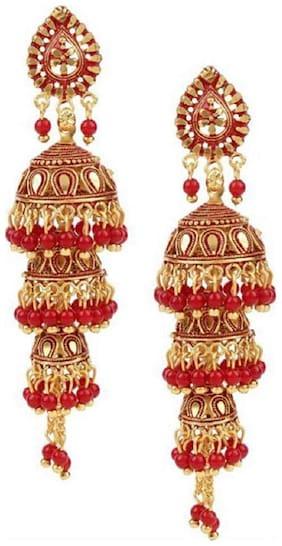 Happy Stoning Gold Plated Beautiful Bridal Partywear Jhumka Jhumki Earrings for women