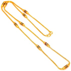 Happy Stoning Gold plated brass, Colourful meenakari cylinders, Stylish Chain daily use Women Traditional Latest