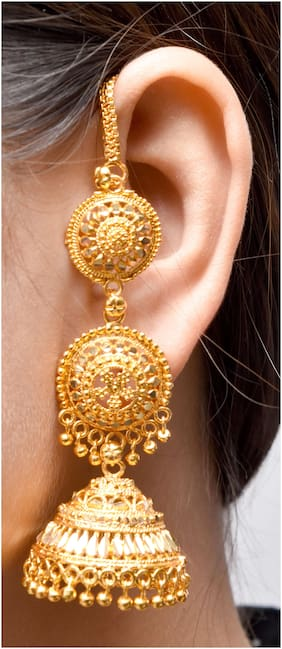 Happy Stoning Stylish Ethnic & Traditional Gold Plated Bridal/Party Wear Earrings