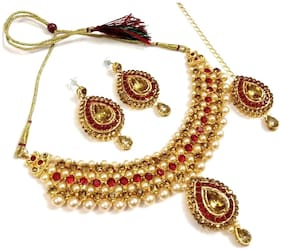 HARITA Gold Plated Bridal Crystal Necklace/Jewellery Set With Maang Tikka and Earings. Red & Golden (HANS-HP-1007GR)