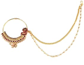 HARITA Gold Kundan and Pearl Nose Ring With Double Chain Nath Nose Pin For Women Gold Red Colour (HMN-4005GR)