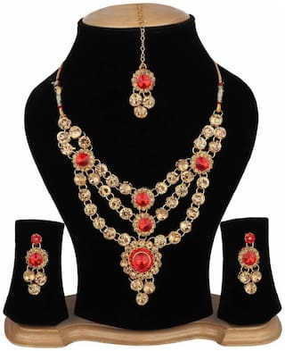 HARITA Stylish Necklace Set Jewellery Set With Earrings and Maang Tikka for Women (HH-9027GR)