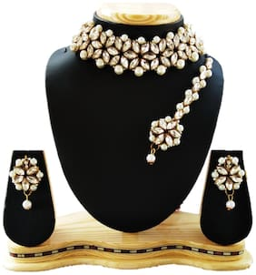 Harita Traditional jewellery Kundan Pearl Necklace/Jewellery Set Choker Set for Women (HANS-HH-9008W)