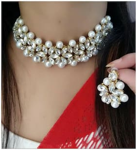 Harita Traditional Pearl Necklace Set Jewellery Set Choker Set With Earrings for Women (HH-99012WW)