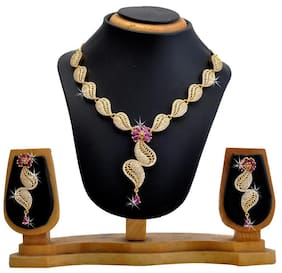Hawai Leaf Style AD Necklace and Earring Set
