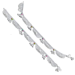 Heer Collection Silver Plated Brass Anklet for Girls & Women (HC2009)