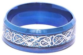 Heer Collection Blue Silver Base SS Finger Ring Size 20 For Men (1 Pcs)