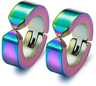 Heer Collection Multi Color Non Piercing Earring For Unisex