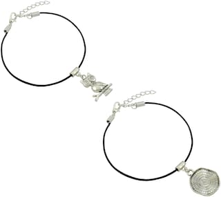 High Trendz Stylish Black Thread With Charm Single Anklets For Women