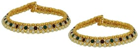 HIGH TRENDZ Gold Plated Kundan Payal Anklet For Women & Girls