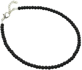 High Trendz Aanvi Black Single Strand Anklet for Women