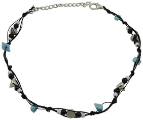 High Trendz Exclusive Black Thread With Multi Coloured Beads Single Anklet For Women and Girls