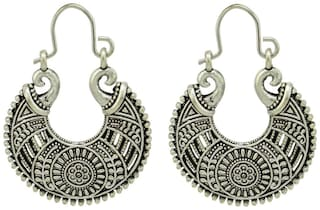 High Trendz Indian Oxidised Silver Plated Hanging Hoop German Silver Earrings For Women And Girls