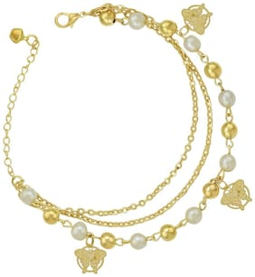 High Trendz Trendy Light Weight Gold Plated Pearl Anklet With Hanging Butterflies For Women And Girls